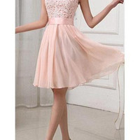 Fashion Lace Splicing Chiffon Knee Length Dress - Pink