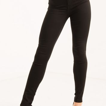 High Waist Soft Skinny Denim Jeans in White, Black