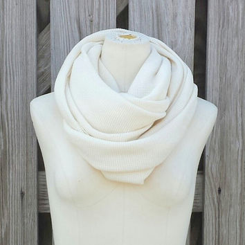 Ivory Infinity Scarf - ORGANIC Cotton Thermal Knit - Ivory Cream Winter White - Snood Hood - Circle of Love