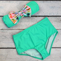 Sun Splash Mint Tie Dye Bow High-Waist Bikini