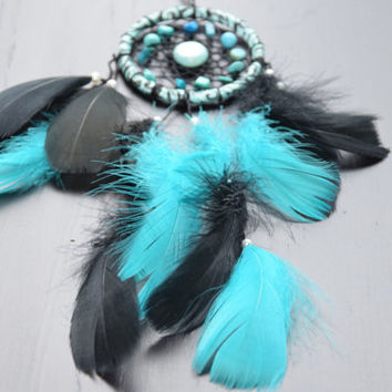 Car Decor, Car Rear View Mirror Charm, Gift Idea for men, Car Dream catcher, Turquoise Blue Dreamcatcher.