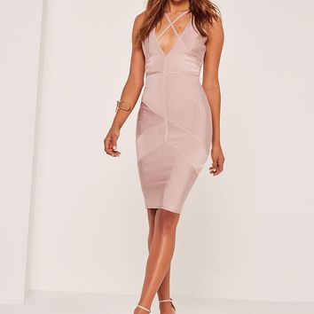 Vandella Midi Ribbed Design Dress