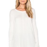 Velvet by Graham & Spencer Belind Thermal Knit Long Sleeve Top in Cream