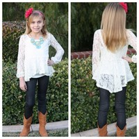 Ivory Ruffle Lace Top - Ryleigh Rue Clothing by MVB