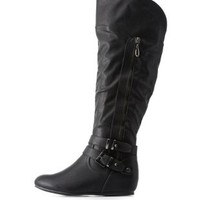 Black Belted Zipper-Trim Wedge Riding Boots by Charlotte Russe