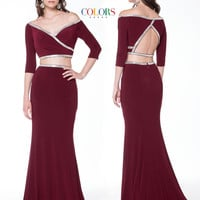 Colors 1728 Two Piece Off Shoulder Jersey Stretch Prom Evening Dress