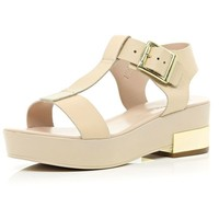 River Island Light pink T bar metal block heel sandals