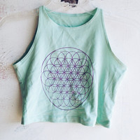 Flower of Life Crop Top Mint Green Sacred Geometry Cropped Shirt Tumblr Brandy Melville