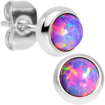 Purple Synthetic Opal 316L Surgical Steel Stud Earrings