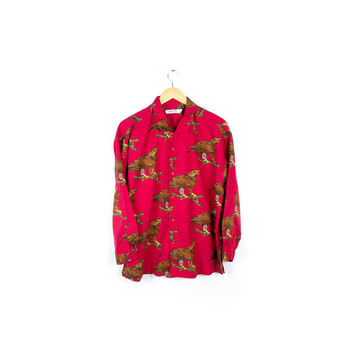 esprit red eagles long sleeve shirt / vintage button down / all over print animal / mens medium - large