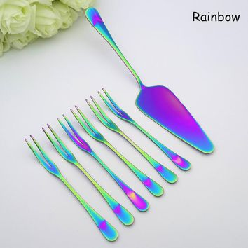 High Quality Stainless Steel Tableware Western Style Cake Knife Fruit Forks Dinnerware Set For Cake And Fruit 7pcs/Set