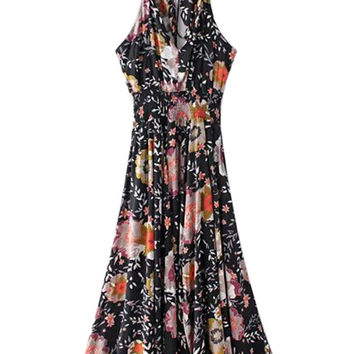 Black V-neck Floral Tied Backless Ruffle Trim Maxi Dress