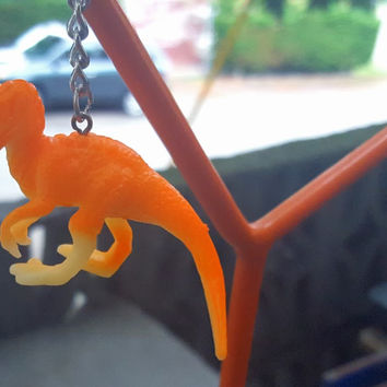 Keychain Orange Dinosaur FREE SHIPPING!  Great Stocking Stuffer