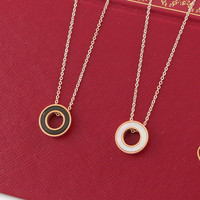 Gift Shiny Jewelry New Arrival Korean Stylish Titanium Ring Chain Couple Necklace [8804714119]