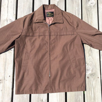 Vintage 1960's Cal Craft Mens Brown Fall Jacket