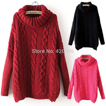 New Fashion  Women Autumn Sweater Casual Long Sleeve Turtleneck Chunky Cable Knit Sweater