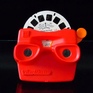 Red View-Master 3D , Vintage Toy ViewMaster Tyco Industries, Winnie the Pooh Reel