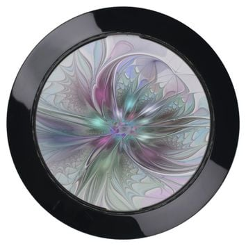 Colorful Fantasy Abstract Modern Fractal Flower USB Charging Station