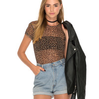 Whitney Tee in Leopard Mesh Brown by Motel
