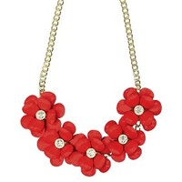 "Women's Statement Necklace - Coral/Gold (18"")"