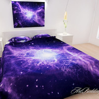 Bedding, Galaxy bedding, 4 - piece Bedding set, Purple Nebula duvet cover set with shams, Queen / Full size cotton sateen duvet cover set