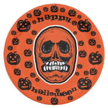 Happy Halloween - Grinder Teeth Skull Paper Plate