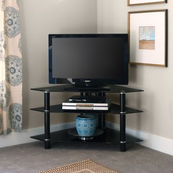 Black Glass Corner TV Stand 44""