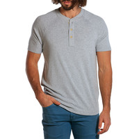 Puremeso Heathered Short Sleeve Henley in Light Grey by The Normal Brand