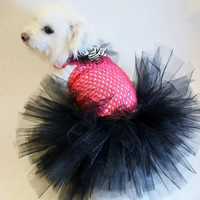RockinDogs Hot Pink and Black DogTutu with Zebra Bow