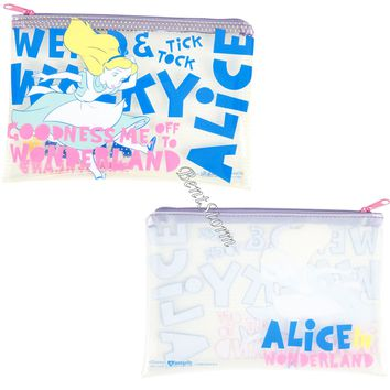 Licensed cool Alice in Wonderland Quote Clear Pencil Case Cosmetic Tote Bag Disney Loungefly