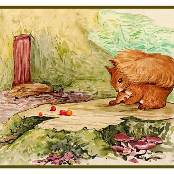 Timmy Tiptoes Chipmunk Hunts for  Nuts Inspired by Beatrix Potter Counted Cross Stitch or Counted Needlepoint Pattern