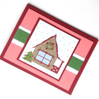 Christmas Card Christmas House Christmas Tree Handmade Card Red and Green with Pink and White Merry Christmas Homemade Christmas Card