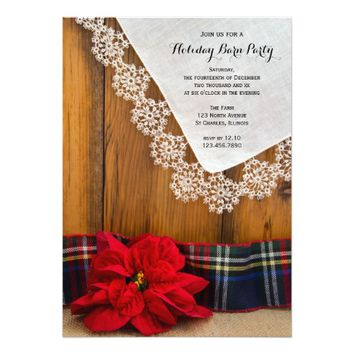 Rustic Poinsettia Country Christmas Barn Party 5x7 Paper Invitation Card