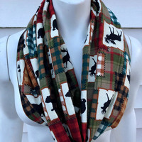 Christmas Plaid Handmade Scarf-Deer Moose Flannel Infinity Scarf-Bear Chunky Winter Scarf-Women's Brown Patch Scarf-Gifts For Her
