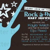Rock Star Guitar Baby Shower Invitation - Printable