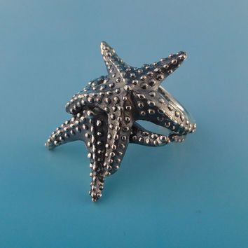 Double Starfish Ring, Ocean Ring, Statement Ring, Beach Jewelry, Starfish Ring, Ocean Jewelry, Adjustable Ring