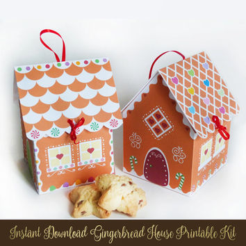 Printable Gingerbread House Kit - Christmas Cupcake holder - Cookie box - Party favors - Christmas Gifts and Treats - 2 Designs