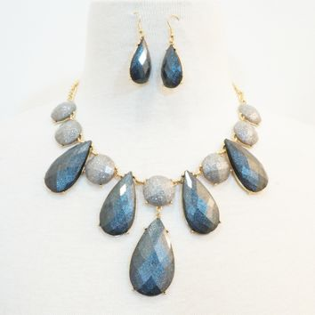 Charcoal Tear Drop Necklace & Earrings Set