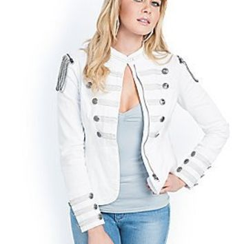 White Denim Marching Jacket | GUESS.com