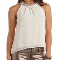 Embellished Chiffon Halter Top by Charlotte Russe - Ivory