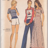 Vintage 1970s pattern knit maxi dress, square neck top/vest, straight leg pants, short shorts pattern misses size 14 Butterick 6704 UNCUT