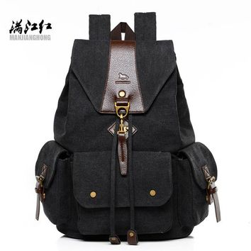 Student Backpack Children New Vintage Canvas Backpack Retro Male Students School Bags Fashion Man Double Shoulder Bags Casual Backpack AT_49_3