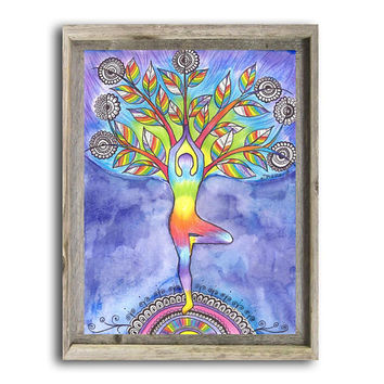 Original Watercolor painting, Yoga Poster, Tree Pose Asana, Yoga Silhouette,  Spiritual Vibrant Energy Art, Yoga Wall Decor, Meditation Art