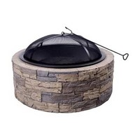 Shinerich Industrial Four Seasons SRFP97C Courtyard Wood Burning Cast Stone Fire Pit, 30-Inch