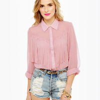 Cute Blush Top - Pink Top - Button-Up Top - Fringe Top - $47.00