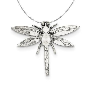 Sterling Silver and Cubic Zirconia Large Dragonfly Slide Necklace