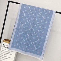 LV Louis Vuitton Fashion Monogram Smooth Silk Cashmere Scarf Scarves Sunscreen Cape Accessories Blue I-TMWJ-XDH