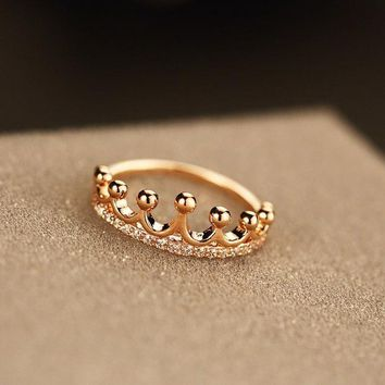 ESBONG Stylish Jewelry New Arrival Shiny Gift Simple Design Crown Ring [11045346196]