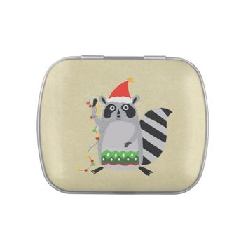 Raccoon In Santa Hat Tangled Up In Xmas Lights Jelly Belly Tins