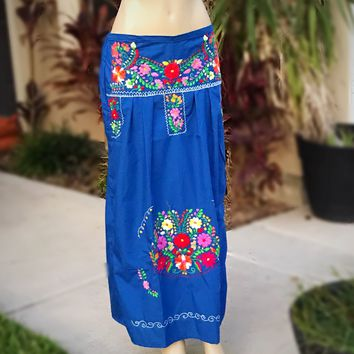 Mexican Embroidered Maxi Skirt Royal Blue